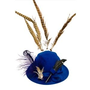 Vintage Royal Blue Wool Hat Birds and Feathers S